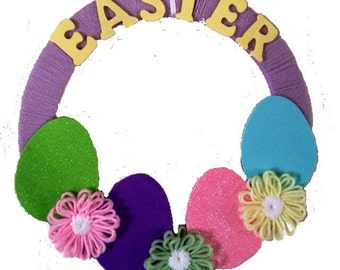 Easter Wreath, Purple, Green, Yellow, Pink, Blue Easter Yarn Flower and Egg Yarn Wreath