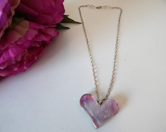 Rose Heart Fused Glass Necklace
