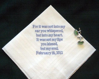 Love letter handkerchief for the groom from the bride, groom pocket square 123B