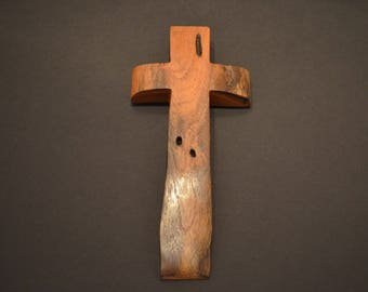 Unique Wood Cross; Christian; Cross Wall Decor; Baptism Gift; Live Edge; Mesquite; Wall Cross; Free Ground Shipping USA; cc20-5040116-rs