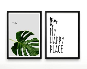 Set of 2 Prints, Botanical Set, Art Set, Set of 2, Set of 2 Wall Art, Botanical Print SetThis is my happy Place, Leaf Art, Scandinavian