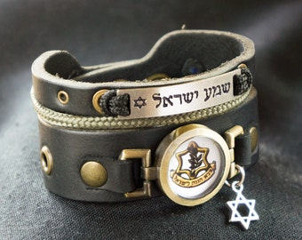 Triple Layer Thick Black Shema Yisrael Bracelet with IDF (Israel Defense Forces) Symbol Logo and Star of David Charm