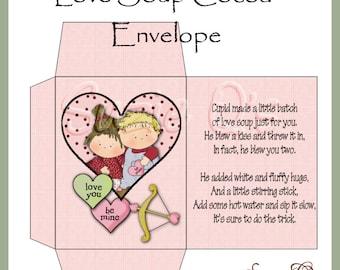 Love Soup Cocoa Envelope - Digital Printable - Immediate Download