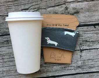Coffee Cup Sleeve Cozy 16 ounce Cozies for Tea, Latte, Hot Chocolate, Beverages, Cover with Cute Wiener Dogs Recycle