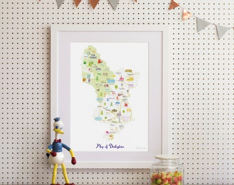 Map of Derbyshire Art Print
