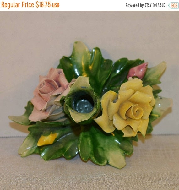 Delayed Shipping Capodimonte Flower Candlestick Holder Vintage Made in Italy Hand Painted Candle Holder Mothers Day Gift for Her Vanity Dres