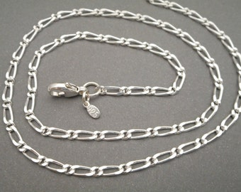 Sterling silver Figaro Chain, .925 Silver - Necklace Chain - Jewelry Supplies - Figaro Chain - Necklace - Men - Women - Mens Necklace
