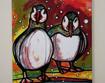 """Puffins.... a canvas art print from an original painting by Suzanne Patterson. 16 x 12"""". Ready to hang."""