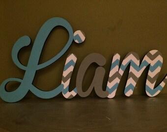 Hand Painted Custom Boys Name Sign - Nursery Wall Letters Boy Name Sign - Wood Wall Letters Cursive Style Boy