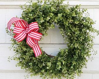 Christmas Door Wreath, Boxwood Wreath, Farmhouse Decor, Holiday Wreath, Wreath for Door, Front Door Wreath, Red and White Wreath, Wreaths