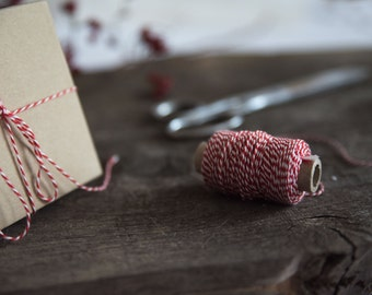 Red bakers twine - Cotton twine - Red and white bakers twine - Holiday gift wrap - Christmas wrapping
