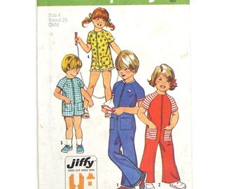 Vintage 70's Simplicity Jiffy Toddler Jumpsuit Sewing Pattern #5758 - Size 4 (Breast 23) - UNCUT Factory Folded