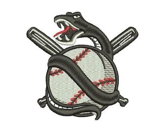 snake baseball embroidery design