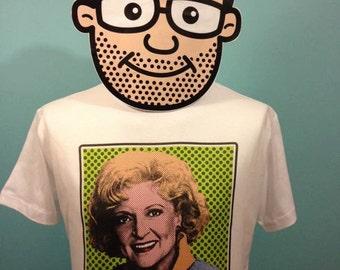 Golden Girls Rose Nylund Pop Art T-Shirt (Betty White / Back In St. Olaf...) - White Shirt
