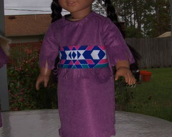 Dusty Rose  Native American  Dress with Soft Boots fits American Girl, and similar  dolls