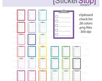 Checklist  Clipboard Rainbow Clipart 28 colors, PNG Digital Clipart - Instant download - clipboard notes notebook paper todo list to do
