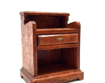 Dollhouse,Furniture, Side Table, Bedside Table, Wood, Folk, Handmade, Miniature, 1:12 Scale, 1970's