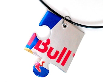 Recycled Large Red Bull Necklace Teen Girl Gift Boy Recycled Soda Can Guy Jewelry Women Gift Men Recycled Aluminum Can Puzzle Piece - N85