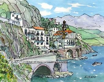 Atrani Amalfi Coast Italy art print from an original watercolor painting