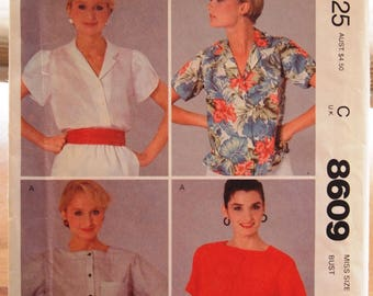 Vintage McCalls Sewing Pattern 8609 Top Size 12