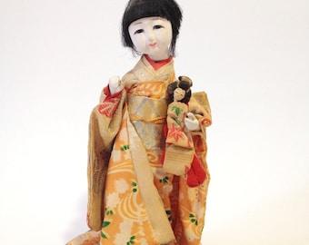 Antique Japanese Doll, Collectible Asian Figurine, Standing Geisha Doll, Ichimatsu Gofun Doll, Little Girl Doll, Japanese Geisha Statue