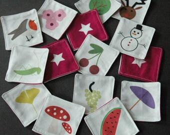 jeu mémory des saisons - 20 pièces en tissu