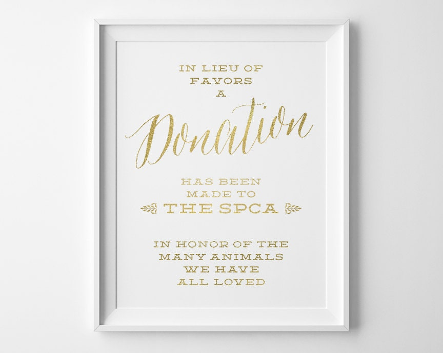 Wedding Signs Gold Charity Donation Wedding Sign In Lieu Of