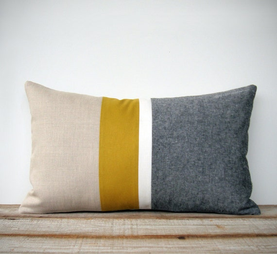 Chambray And Mustard Yellow Striped Lumbar Pillow Cover