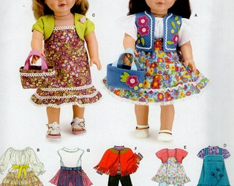 "Simplicity 3936 Free Us Ship 18""Doll Clothes Wardrobe New Sewing Pattern Fits American Girl Out of Print Vest Dress Purse Andrea Schewe New"