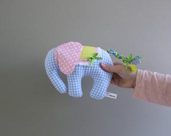Small stuffed animal in baby blue - Elephant plush -Stocking stuffers -Nursery decor -Cuddly toy -Handmade toy -Stocking filler