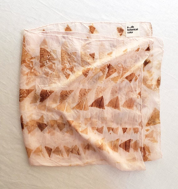 Bundle Dyed Silk Scarf with Geometric Pattern