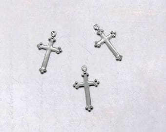 50 x Small Stainless Steel Cross Charms 17mm x 10mm - Thin & Light Weight