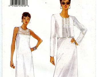 Vogue 9793 UNCUT Sewing Pattern Women's Full Length Dress with Jacket Bust 36 38 40 Medium Large Sizes 14-16-18