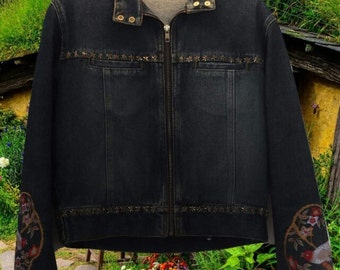 Vintage denim jacket with star embellishments and bird embroidery. Size 6/8/10.