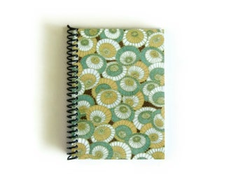 Japanese Umbrellas Notebook A6 Spiral Bound - Rainy Day Writing Journal, Mint Green, Blank Pocket Sketchbook, Back to School, Gifts Under 20