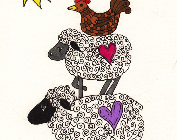 Two Sheep and a Hen Cards