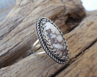 ON SALE Wild Horse magnesite ring handmade in sterling silver 925