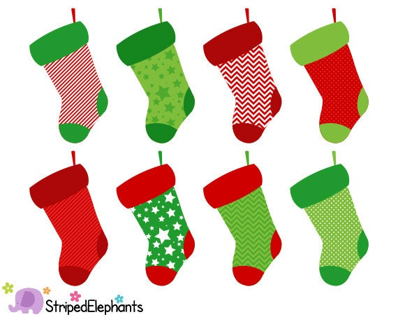 christmas stocking clip art digital clip art instant rh etsy com christmas stocking clipart free christmas stockings clipart black and white