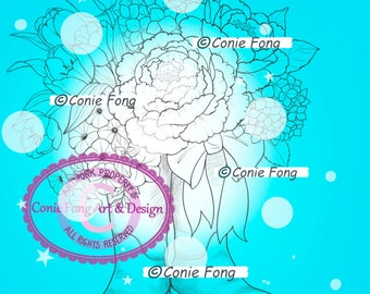 Digital Stamp, Digi Stamp, Digistamp, Conie Fong, flowers, bouquet, boot, Coloring Page, birthday, mother's day, get well, sympathy