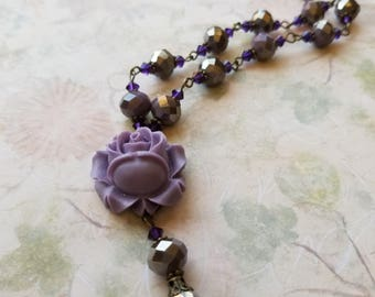 """Purple Rose cabachon and crystal drop necklace with silver and brass accents. """"Steel Rose."""""""