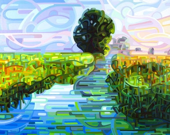 early morning stream, dawn, wetlands, sunrise, blue, green, Medium Signed Fine Art Giclee Print from my Original Painting - Ebb and Flow -