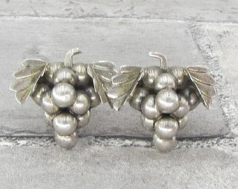 Antique 925 Sterling Silver Bunch of Grapes Earrings, Screwback Style
