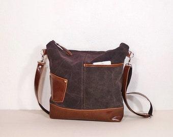 "Brown canvas crossbody purse and vegan leather, zipper shoulder bag medium size,""crazy horse"" effect, canvas and leather bag, hobo bag brown"