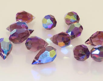 9 X 14 mm Amethyst AB Swarovski Teardrop Crystal - 3.00 ea - Bin #11