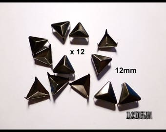 * ¤ Set of 12 triangle metal black claw nails - 12mm ¤ * #D50