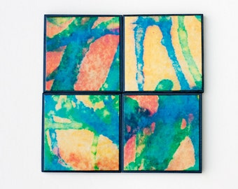 Photo Coasters Handmade Paper Colorful Abstract Photo Print Manly Decor Striped Coasters Green Yellow Recycled Paper Watercolor Paint