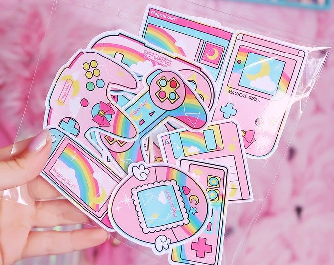 90s Gamer Girl Starter Pack White Vinyl Sticker Bomb Pack