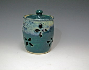 Garlic Keeper, Garlic storage Jar Blue-Green/Teal Glaze