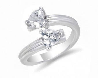 White Zirconia Double Heart Ring