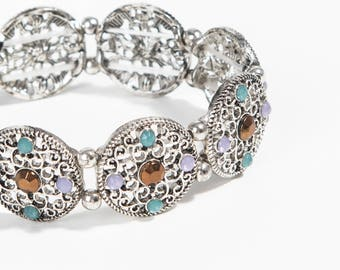 Chunky silver plated colorful rhinestone Stretch Bracelet